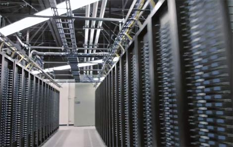 A look at the fully-packed racks inside a Facebook data center facility.