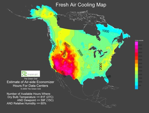 This map from The Green Grid identifies the best areas for free cooling.