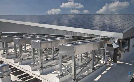 Emerson Network Power has installed this 7,800 square foot solar array on the roof of its new St. Louis data center.