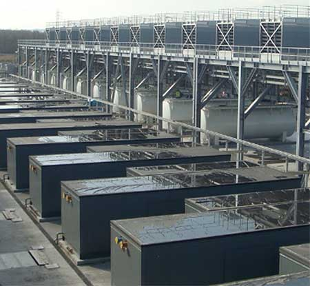 The equipment yard at the Google data center in St. Ghislain, Belgium features no chillers. (Photo from Google)