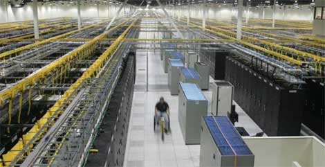 An overhead view of a Quality Technology Services data center in the Atlanta area.