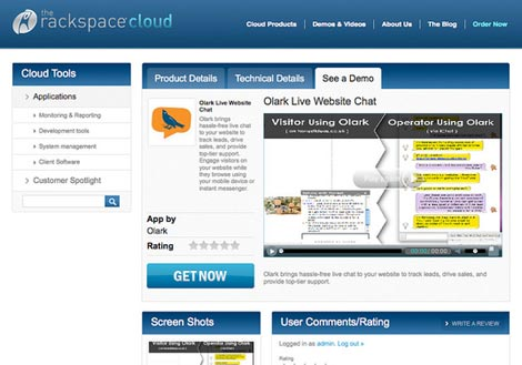 A screen shot of the Rackspace Cloud Toosl partner application catalog.