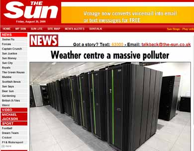 An example of the front-page news being generated by the energy use of a supercomputer at the UK Meteorological Office.