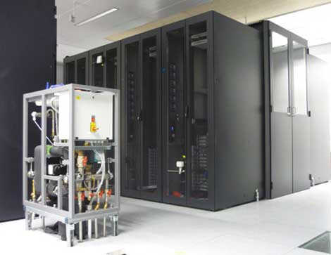 A look at part of the lab area at Data Center 2020 near Munich, a joint research project on data center efficiency from Intel and T-Systems.