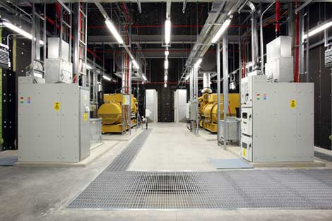 A look at the diesel generators providing emergency backup power for the new Microsoft data center in Dublin, Ireland.