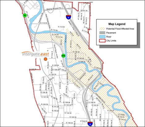 This map from the City of Tukwila, Wash. shows the location of the Sabey Intergate.East data center complex in relation to areas facing potential flooding this fall (diagonal lines).