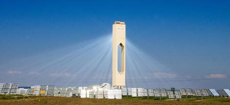 A look at a working solar thermal power generation facility.