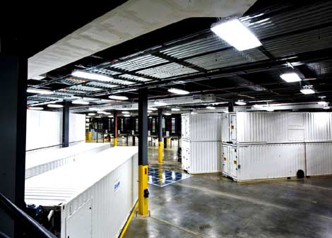 A view of the container area in the new Microsoft data center in Chicago.
