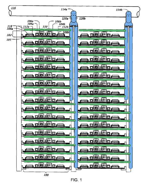 This diagram, adapted from a patent application by Exaflop LLC, shows how a new cooling system design might work in a Google data center. We've added color to the original diagram to highlight the vertical standpipes (in blue) and air wands (in green) that would deliver cold air to components in the server trays.