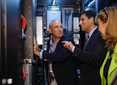 Federal CIO Vivek Kundra tours the NASA Nebula data center container during a September visit to Ames Research Center.