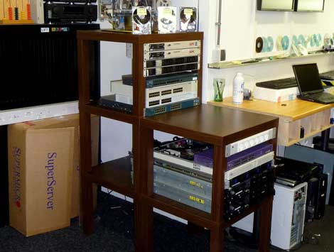 An implementation of the LACKRack, which adapts an IKEA side table for use as a stylish home data center.