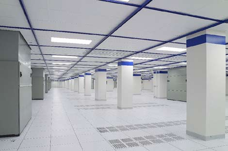 The server hall of a data center operated by CoreSite.