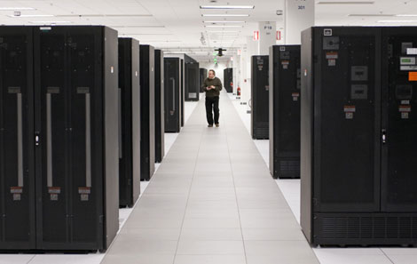 The interior of the $360 million new IBM data center in Research Triangle Park, North Carolina.