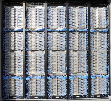 Serious Server Density: Packed racks of servers in an IT-PAC at the new Microsoft data center in Quincy, Washington (Photo: Microsoft Corp.)