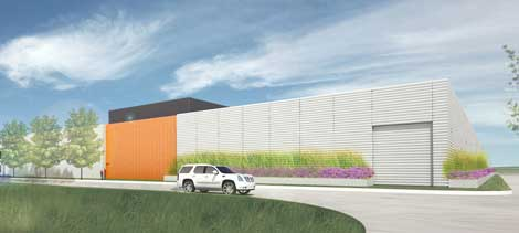 An illustration of the design for a new General Motors data center in Warren, Michigan.