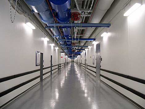 The long main hallway of the NYSE Euronext data center provides a sense of the immense scale of the 400,000 square foot facility in New Jersey. (Photo: Rich Miller)