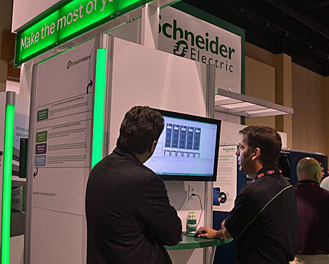 Schneider Electric demonstrates its DCIM software.