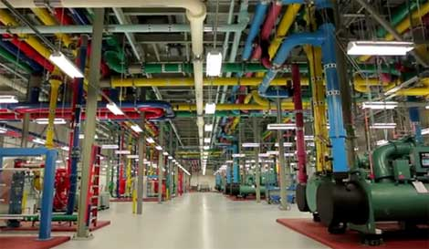 A look inside the cooling plant at a Google data center.