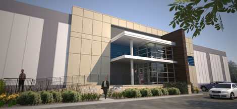 An illustration of the front facade of Internap's newest data center, located in Los Angeles.