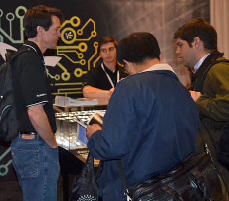 Discussions at the Fusion-IO booth were active. Fusion-io rolled out its newest product line, Fusion ioScale, at the conference. ioScale provides up to 3.2 terabytes of ioMemory capacity, and pricing starts as low as $3.89 per gigabyte.