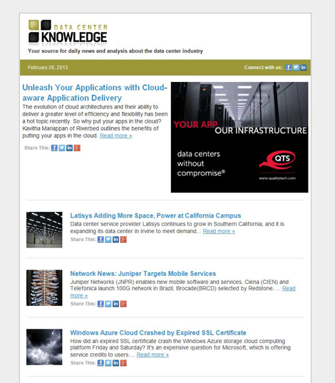 Data Center Knowledge rolls out a new daily email newsletter design.