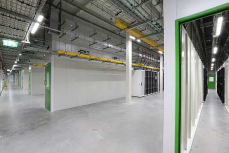 A data hall at Microsoft's Dublin data center