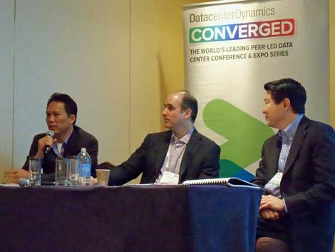 The panel on investing and data center finance featured insights from industry executives (from left) Simon Lee of Sapience Capital, Sabey Data Center President John Sabey, and Steve Lee of BankStreet Group. (Photo: Rich Miller)