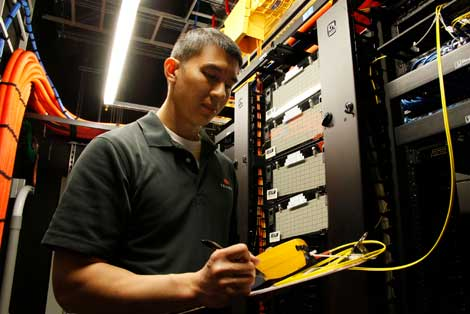 A staff member in an Equinix facility.