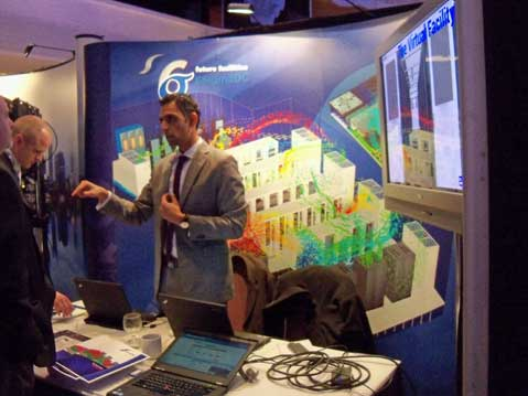 "Future Facilities, which makes software to model thermal conditions in a ""virtual data center,"" was among the many vendors with booths at the expo hall at the Marriott Marquis. (Photo: Rich Miller)"