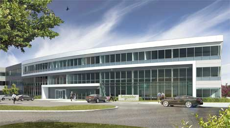 An artist's illustration of the planned Schneider Electric R&D center in Andover, Mass.