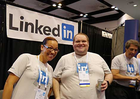 The LinkedIn team was having fun at their booth, and in an encouraging sign, they were looking to hire tech team members.