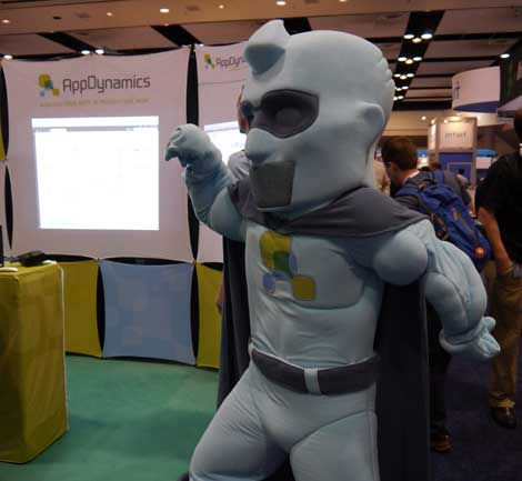 A mighty mascot at the App  Dynamics booth worked to draw attention. (Photo: Colleen Miller)