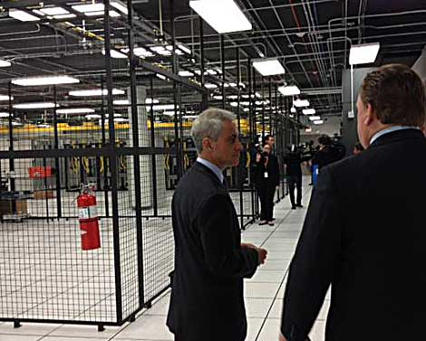 Chicago's Mayor Emanuel tours Peerless' Data Center Facility in Server Farm Realty's new building.