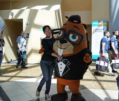 Squirrel or beaver? No matter, the mascot from Loggly was willing to pose for photos. (PHoto:  Colleen Miller)