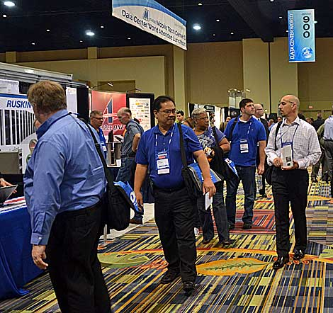 Whether it was products to manage power systems or fire protection for the data center, participants at Data Center World had the opportunity learn about and demonstrate a wide array of products in the exhibit halls space. (Photo by Colleen Miller.)