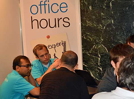 Office hours at the Velocity Conference offers the opportunity for participants to ask detailed questions of teams with specific expertise. (Photo by Colleen Miller.)