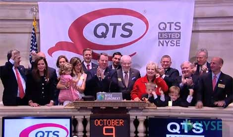 Officials of QTS Realty Trust ringing the opening bell at the New York Stock Exchange to celebrate their IPO in late 2013 (Photo: QTS)
