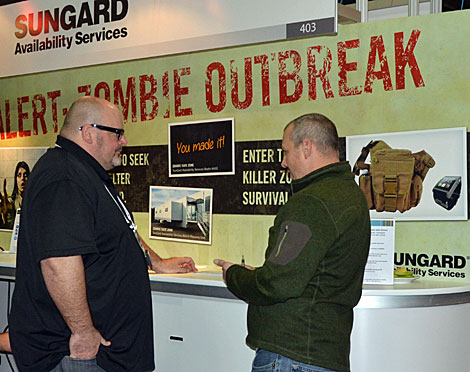 "Companies will do many things to attract attention at trade shows, including the mock ""Zombie Outbreak"" scenario posited by Sungard Availability Services. (Photo by Colleen Miller.)"
