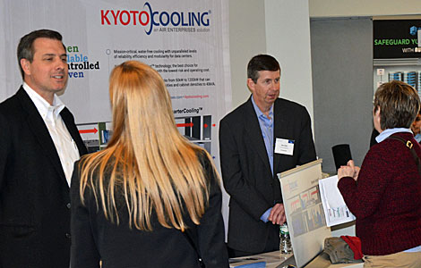 Data center vendors, such as Kyoto cooling, were on hand to discuss their solutions with participants. (Photo by Colleen Miller.)
