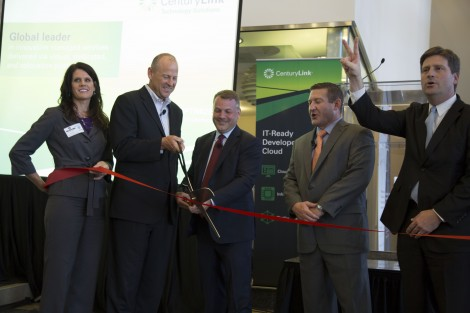 A ribbon is cut to celebrate the CenturyLink-IO partnership and CenturyLink's new data center presence in the Phoenix market. Pictured, from left, are Jennifer Mellon, vice president of program development for the Greater Phoenix Chamber of Commerce; Jeff Von Deylen, president of CenturyLink Technology Solutions; Peter McNamara, senior vice president of global enterprise sales at IO; Ken McMahon, vice president-general manager, Phoenix, for CenturyLink; and Greg Stanton, mayor of Phoenix