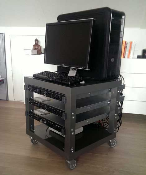 This portable IT rack was adapted from an IKEA Lack side table. (Photo: Frank Denneman.