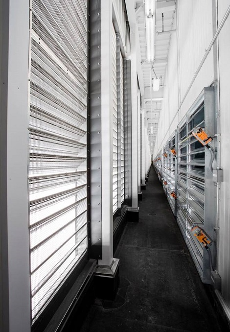 Exhaust room at Facebook's Altoona data center. (Photo: @2014 Jacob Sharp Photography)