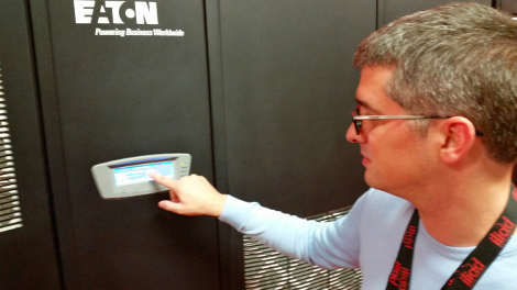 Arnaud de Bermingham, CEO of Online.net, in front of an Eaton UPS unit at Iliad's DC3 data center
