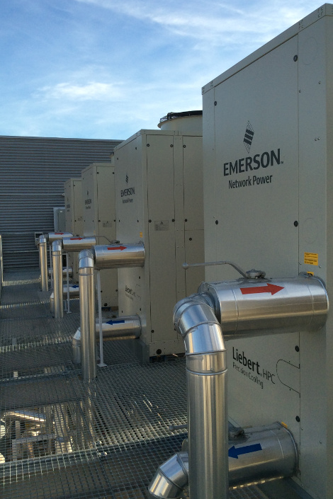 Emerson's Liebert HPC chillers at T-Systems' modular data center in Barcelona, designed and built by Emerson. (Photo: Emerson)
