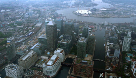 High rise office buildings are seen in the Canary Wharf area of London from the air on June 14, 2014 in London, England. (Photo by Matt Cardy/Getty Images)