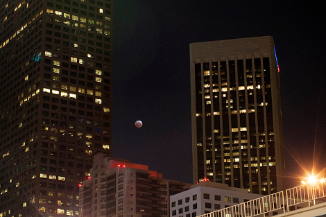 The moon is seen behind downtown high-rise buildings during the shortest total lunar eclipse of the century before dawn on April 3, 2014 in Los Angeles, California. (Photo by David McNew/Getty Images)