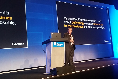 David Cappuccio, VP and distinguished analyst at Gartner, speaking at the firm's data center management conference in Las Vegas in December 2015