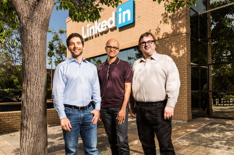Left to right: Jeff Weiner, CEO, LinkedIn; Satya Nadella, CEO, Microsoft; Reid Hoffman, chairman and co-founder, LinkedIn (Photo: Microsoft)