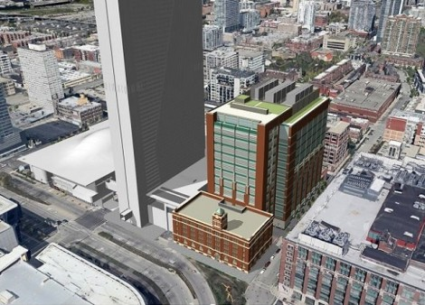 Rendering of Digital Realty's planned data center at 330 E. Cermak in Chicago. The company's existing carrier hotel at 350 E. Cermak is immediately to the right. (Image: Digital Realty)
